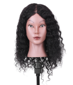 "15"" 100% Real Hair Mannequin Head Curly Hair Salon Training Head Cosmetology Mannequin Head Salon Dummy Head for Hair Styling Practice"