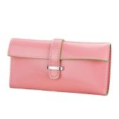 Nova moda mulheres bolsa longa PU macio couro cinta cor dos doces carteira cartão titular saco de embreagem