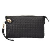 Fashion Women Clutch Bag PU Leather Woven Pattern Twist Lock Zipper Rivet Envelope Shoulder Bag Black/White