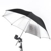 83cm Studio-Foto-Strobe-Blitz-Licht-Reflektor-Schwarz-Silber-Regenschirm 33 Zoll