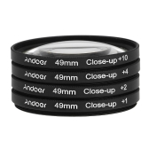 Andoer 49mm  Macro Close-Up filtre un ensemble de +1 +2 +4 +10 avec étui poche pour Nikon Canon Sony DSLR