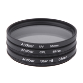 Andoer 55mm Filter Set UV + CPL + Star 8-Point Filter Kit with Case for Canon Nikon Sony DSLR Camera Lens