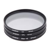 67mm Filtersatz UV + CPL + Stern 8 Punkt Filter Kit mit Tasche für Canon Nikon Sony DSLR-Kamera-Objektiv