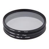 Andoer Filtr UV 77mm Set + CPL + Gwiazda 8-punktowy Zestaw filtrów w sprawie Canon Nikon Sony Lens DSLR Camera