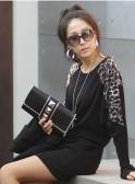 Leopardo das mulheres senhoras imprimir longo Casual túnica Top solta, t-shirt de emenda