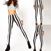 Sexy moda mujer polainas negro raya Vertical blanca cebra elástico medias pantalones