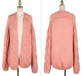 Moda coreana mulheres Cardigan cor dos doces manga longa camisola malhas soltas casaco rosa