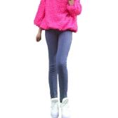 Neue Frauen Leggings Mittellinie Modedesign Volltonfarbe Slim Casual lange Hose blau