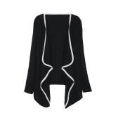 Neue Mode Frauen asymmetrischen Oberbekleidung Kontrast Mantel Langarm Cape Strickjacke Tops
