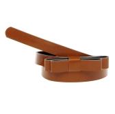 Moda mujeres señora cintura delgada correa Bowknot lindo Color caramelo PU delgada delgada cuero cintura cinturón marrón