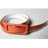 Fashion Women Girls Candy Colors Belt Adjustable Low Waist Narrow Thin Skinny Belt PU Leather Light Brown