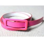 Moda mujeres chicas dulces colores correa ajustable de cintura baja estrecho cinturón delgado delgado PU cuero rosa