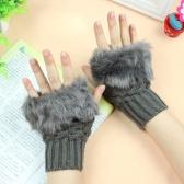 Nueva moda mujeres guantes falso conejo de piel guantes sin dedos mitones cortos calientes punto
