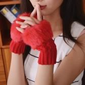 Nova moda mulheres luvas do falso pele do coelho sem dedos de malha quentes luvas curtas