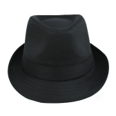 New Fashion Women Men Hat Curly Floppy Brim British Jazz Hip-Hop Fedora Hat Cap Unisex Black