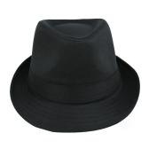 Nouveau mode femmes hommes chapeau bouclés Brim disquette Hip-Hop Jazz britannique Fedora Hat Cap unisexe Black