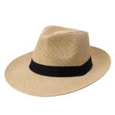 Moda homens mulheres Panamá Sun Straw Hat contraste fita pinçado coroa rolou praia Trim Cap