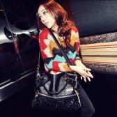 Mode Frauen Leopard Pailletten Paillette Handtasche Tote PU Messenger Tasche
