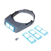 Docooler Double Linse Headset Stirnband Leselupe Lupe Kopfbandlupe mit 4 Vergrößerungen