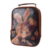 Alte Frauen Rucksack PU Leder bunte Print Student School Bag Handtasche braun Mädchen mit Kaninchen-Ohr