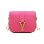 Nueva moda mujer cadena bolsa PU cuero Color caramelo Mini bandolera bandolera rosa