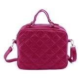 Mode Damen Umhängetasche PU Leder Check Muster Crossbody Messenger Bag Tote dunkelblau