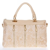 Moda damska Lady Retro Koronka Torebka PU (Faux) Leather Tote Bag Beige Crossbody ramię