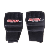 PU Leather Half Mitts Mitten MMA Muay Thai Training Punching Sparring Boxing Gloves Red