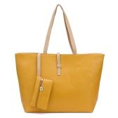 Nueva moda mujer dama bolso bandolera PU cuero Tote amarillo
