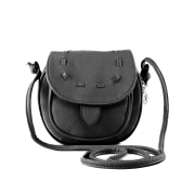 Nueva moda mujer bandolera Mini PU Messenger bandolera lazo bolso negro de cuero