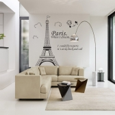 Hermosa vista romántica París, Torre Eiffel de Francia DIY Wall Wallpaper pegatinas decoración Arte Mural habitación etiqueta