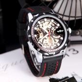 古典的なダイヤル デザイン シリコーン手首バンド黒勝者おしゃれなメンズ スケルトン自動自動機械式腕時計