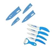 """Zirkonoxid-Keramik-Küchenmesser Set 3"""" 4"""" 5 """"6"""" Zoll mit blauen Blume gedruckt + Schäler + Covers"""