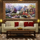 DIY Handmade Needlework Cross Stitch Set Embroidery Kit Precise Printed Garden Cottage Design Cross-Stitching 64 * 37cm Home Decoration