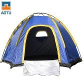 Hexagonal Camping Tent for 3-4 Persons Waterproof UV-resistant Outdoor Travel Portable Blue