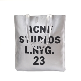 New Fashion Women Casual Handbags PU Leather Letter Printed Vertical Totes Shoulder Bags Silver