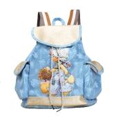 Moda mulheres cor dos doces mochila PU couro padrão Drawstring Casual bonita escola menina mala de viagem