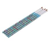 5pcs Nail Art madeira UV Gel salão Pen escova plana Kit pontilham a ferramenta