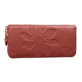New Fashion Long Women Purse Floral Print PU Leather Candy Color Zip Wallet Card Holder Clutch