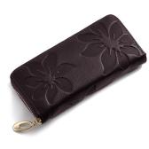 Nueva moda largo mujer monedero Floral impresión PU cuero Color caramelo Zip cartera tarjeta soporte embrague