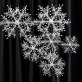 6pcs/Ensemble de Décoration 3D Les Flocons de Neige Ornements Suspendus Neige Stéréoscopique Décor Accessoires d