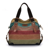Retro Canvas Color Block Casual Totes for Women