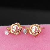 1PAAR vergoldet klar Crystal Zirkon 18K Flower Ohr Stud Dangle Ohrring Tropfen Anhänger Schmuck Geschenk für Frauen Lady