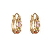 1 paio chiaro cristallo zircone oro 18 carati placcato occhiali Hoop Orecchini Loop chiusura gioielli regalo per donne signora