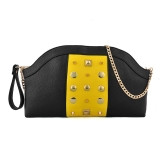 New Fashion Women Chain Shoulder Bag Contrast Color Rivets Decoration Zipper Clutch Bag