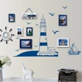 Parede removível da etiqueta azul vela barco torre foto arte Mural Decalques DIY papel de parede para quarto decalque 22.5 * 50cm