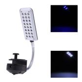 Acuario agua planta 24 LED lámpara de iluminación luz Clip 2 modos blanco & azul Flexible de trabajo