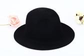 Moda Unisex Wełna Fedora Hat Czapka Trilby Korona szerokie rondo Bowler Derby Czapki Floppy Bucket Hat Czarny