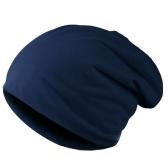 Nova moda homens mulheres gorro cor sólida hip-hop desleixo Unisex malha Cap chapéu azul escuro