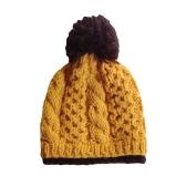 Mulheres de Outono Inverno de malha chapéu contraste Bobble gorros Ski chapéu tampão grosso morno Headwear